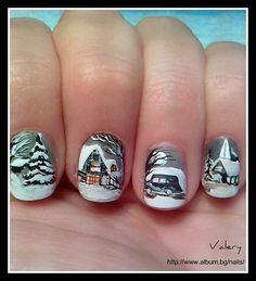 Nails by Valery Filipova: winter scene  design. Get a closer look @ http://www.album.bg/nails/images/28770993/