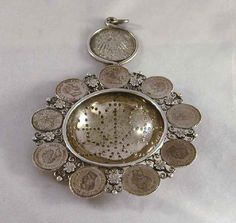 Antique Silver Tea Strainer Prussian Kings Fredrick Wilhelm IV, Wilhelm