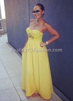 Evelyn Lozada's Yellow Studded Strapless Maxi Dress