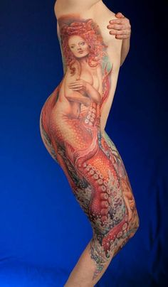 Such a breathtaking piece. #InkedMagazine #sidepiece #large #tattoo #mermaid #octopus #sea #tattoos #ink #Inked