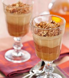 Chocolate Mocha Verrines - Verrines are French desserts served in small glasses only a bit taller and bigger than a shot glass, usually beautifully decorated. The coconut and  almond sprinkle makes a delicious crunchy contrast of texture too!