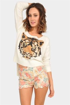 There's something so 1980s about this tiger sweater and Laura Ashley-inspired tap shorts. What's not to love?