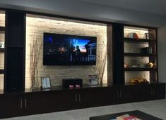 Living room tv wall decor ideas fire places Ideas for 2019 Basement Living Rooms, Modern Basement, Living Room With Fireplace, New Living Room, Living Room Modern, Tv Rooms, Fireplace Wall, Basement Bathroom, Fireplace Design