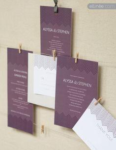 DIY Wedding Invitation Templates. Plum Chevron