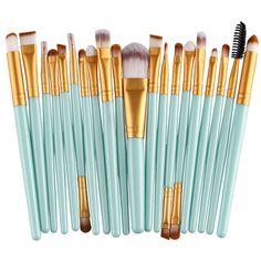 Cosmetic 20 Pcs Plastic Handle Nylon Makeup Brushes Set