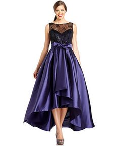 JR Nites Dress, Sleeveless Illusion Sequin Sash Gown - Dresses - Women - Macy's