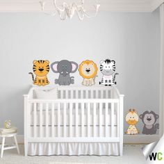 Jungle animal decal available in neutral colours - suits a bedroom for both boys and girls! Available for $66.