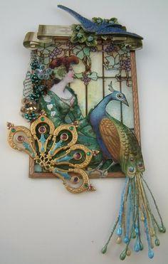 Peacock in mixed media art