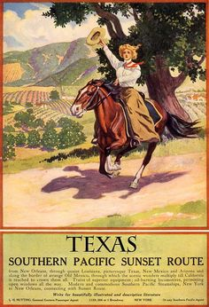 Vintage TEXAS COWGIRL Quarter Horse Equestrian Western Travel Advertising Poster Fine ART Print