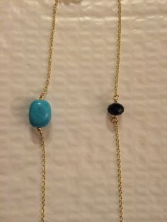 Chain #24. The ASHLEE turquoise and swarovski crystal on a gold chain. #YbyHY
