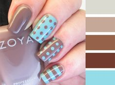 It's all about the polish: NOTD - Zoya Normani and Catrice Minter Wonderland polka dot skittle - Spring Nails Fancy Nails, Trendy Nails, Diy Nails, Manicure Ideas, Polka Dot Nails, Blue Nails, Polka Dots, Brown Nails, Glitter Nails