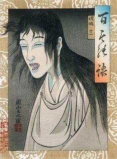 """Demon from """"Hyakumonogatari /100 Ghost Stories"""", 1890 by Yoshi-iku ~Via LauraH"""