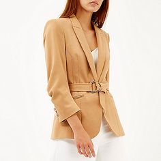 Camel belted D-ring blazer - blazers - coats / jackets - women