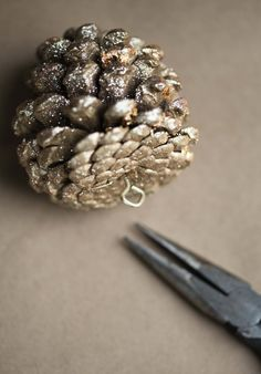 Gold pine cone ornaments...or string them on some ribbon to make garland =)