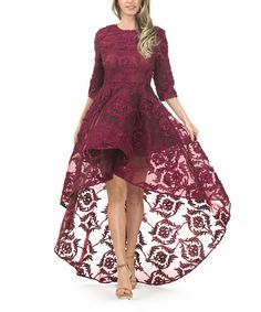 Look at this CQbyCQ Plum Lace Overlay Hi-low Dress on #zulily today!