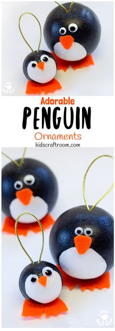 CUTE PENGUIN CRAFT - Have fun with this adorable round Winter penguin craft. They make super penguin Christmas ornaments and are fun for Winter Small World play too. #penguin #penguincrafts #wintercrafts #wintercraftsforkids #ornaments #christmas #christmascrafts #kidscraftroom via @KidsCraftRoom