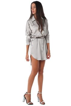 Satin long sleeve shirt dress with dipped hem - 49,90 € - https://q2shop.com/