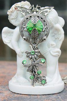 Key necklace, silver necklace, key jewelry, green key, keys, swarovski key