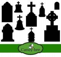 Silhouette Clip Art, Vector Design, Cemetery, Silhouettes, Cricut, Stamp, Graphics, Etsy Shop, Halloween