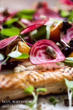 This beautiful vegetarian tart recipe is bursting with flavor from fresh herbs, thinly sliced beets, creamy cheese and flakey puff pastry. It even has a little crunch from pumpkin seeds. We used three beets, red, golden, and the beautiful striped chiogga beets. It's perfect for a light lunch or an elegant appetizer. The Little Rusted Ladle, food photography, recipes and crafts blog.