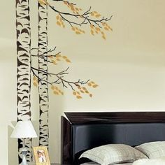 Large Tree Stencil Beautiful Birches, Reusable Stencils for easy Decor