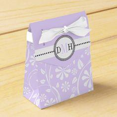 Lavender, white floral pattern custom wedding favor box