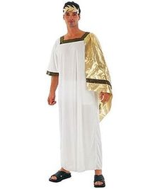 Toga with shawl Headpiece A versatile Male Greek God Fancy Dress Costume, that can be used for any greek god and roman characters from Zeus - Augustus. A value for money costume for any ancient themed party. A long white toga with a gold attac. Toga Fancy Dress, Egyptian Fancy Dress, Egyptian Costume, Adult Fancy Dress, Fancy Dress Outfits, Toga Halloween Costume, Halloween Outfits, Halloween Masquerade, Party Costumes