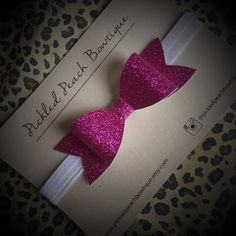 Large Fuchsia Glitter Bow Headband Pink by pickledpeachbowtique