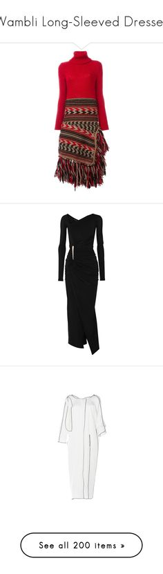 """Wambli Long-Sleeved Dresses"" by wambliwakan ❤ liked on Polyvore featuring dresses, red, mid length dresses, red dress, long sleeve asymmetrical dress, dsquared2, red long sleeve dress, gowns, black and donna karan evening gowns"
