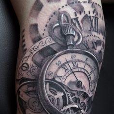Lindo Relógio De Bolso De Desenhos De Tatuagem