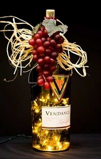 Decorated wine bottle with lights
