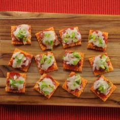 Easy-to-prepare, bite-size pizzas on crackers--perfect snacks for everything from birthday parties to watching the big game!
