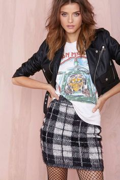 Plaid Mini Skirt, Graphic T-shirt & a Leather Jacket
