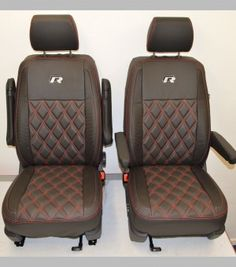 4fbeece4cb Volkswagen VW Transporter T6 R Line Tailored Van Seat Covers - Black    Carbon Diamond Quilting (CAPTAIN SEATS)