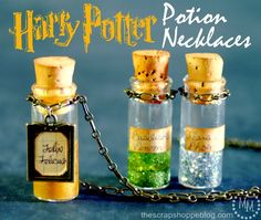 rainbowsandunicornscrafts: DIY Harry Potter Potion Necklace Tutorials from The Scrap Shoppe. Really easy and the liquid base to the glitter is so cheap and clever and could be used in lots of potion bottles come Halloween. For more unique Harry. Harry Potter Thema, Harry Potter Potions, Harry Potter Birthday, Bottle Charms, Bottle Necklace, Girl Scout Swap, Girl Scouts, Potion Bottle, Making Ideas
