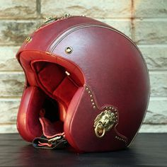 TM Custom Luxury Leather Motorcycle Helmet Solid Red With Parts