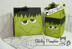Frankenstein Mini card and milk carton, Stampin' Up!, Stamp set Best of Halloween, Cute stuff by Shirley, Frankie box and card Halloween Bags, Halloween Trick Or Treat, Holidays Halloween, Halloween Crafts, Spooky Halloween, Fall Paper Crafts, Candy Crafts, Paper Crafting, Mini Milk