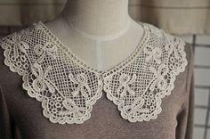 Venice Cotton lace Collar Appliques Beige Bow by Lacebeauty, $3.99