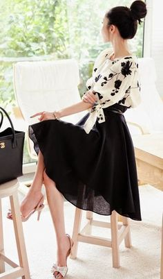Black Flowers Embroidery 2-in-1 Lantern Sleeve Dress