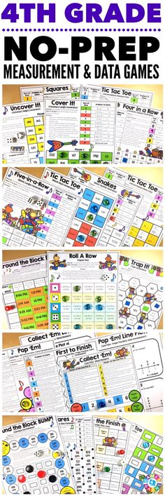 """""""Kids are LOVING these games during rotation time to reinforce standards."""" This 4th Grade Measurement & Data Games Pack includes 19 differentiated games for practicing customary measurement conversions, metric measurement conversions, time conversions, elapsed time, line plots, perimeter, and area. These games support the 4th grade CCSS measurement & data standards!"""