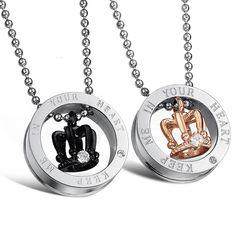 dc6c8cbc0e 'Crown Couple Pendants' Initial Necklace, Men Necklace, Pendant Necklace, Couple  Necklaces