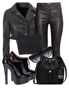 """Black Leather"" by deedee-pekarik ❤ liked on Polyvore featuring Glamorous, H&M, MICHAEL Michael Kors, Alaïa, Topshop and Elizabeth and James"