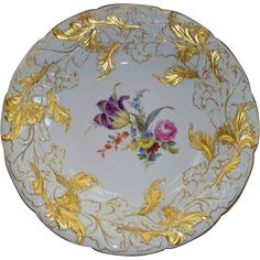 "Antique Meissen Charger Tulip Rose Leaves 12"" X 2"" from antiquecharm on Ruby Lane"