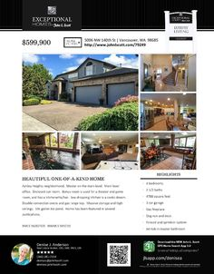 Real Estate NOW for sale at $599,900! Come and view this four Bedroom, two full and one half Bath, 4788 square foot beautiful custom two story Ashley Heights home with a Bonus Room on a large .23 acre lot located at 5006 NW 140th Street, Vancouver, Washington 98685 in Clark County area 43 which is the North Felida area in Vancouver. The RMLS number is 16002105. It has one gas burning fireplace and is not considered to be a view home. It was built in 1997 and the local high school is Skyview…