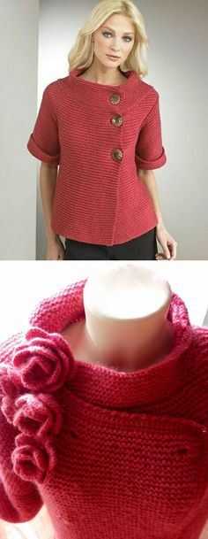 This Pin was discovered by dud Crochet Bolero, Crochet Jumper, Knit Cardigan Pattern, Knit Crochet, Knitted Jackets Women, Sweaters For Women, Free Knitting, Baby Knitting, Knitting Designs