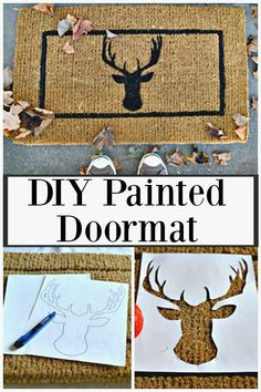 DIY Deer Head Doormat - An easy and inexpensive DIY deer head doormat made with a store bought mat and a handmade stencil. #diy #frontdoor #craft #stencil #frontdoormatdiy