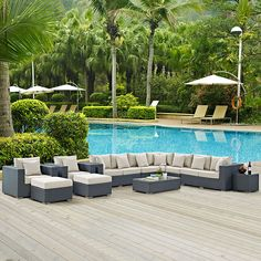 Modway Furniture Modern Sojourn 12 Piece Outdoor Patio Sectional Set in Sunbrella® EEI-1885 Outfit your patio with an imaginative outdoor sectional series of exceptional quality. The Sojourn series of