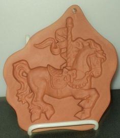 COTTON PRESS CAROUSAL HORSE 1992 Red Pottery Clay Cookie Mold Stamp