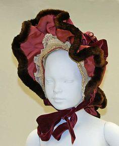 1890 child's wool, silk, and fur bonnet.  Via MMA