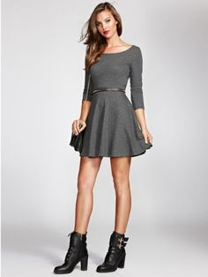 GUESS Women's Three-Quarter Sleeve French Terry Fit-and-Flare Dress, DARK COAL HEATHER (SMALL) GUESS,http://www.amazon.com/dp/B00FJBETZW/ref=cm_sw_r_pi_dp_nwHOsb0NB0P5KN2X